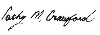 Cathy Crawford signature